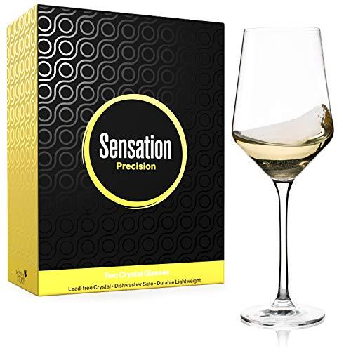 Season STORY White Wine Glasses Set of 2 - 14oz Modern Crystal Glass Italian Style, tall square restaurant glassware 4 drinking sauvignon blanc, chardonnay, Copas de Vino Cristal universal wine glass