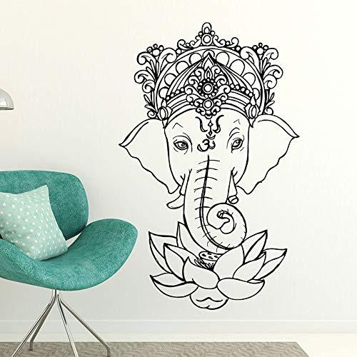 wZUN Elefant Buddha Yoga Mandala Lotus Wandaufkleber Ganesha Vinyl Wandtattoo Wohnkultur Wohnzimmer Abnehmbar 57x90cm