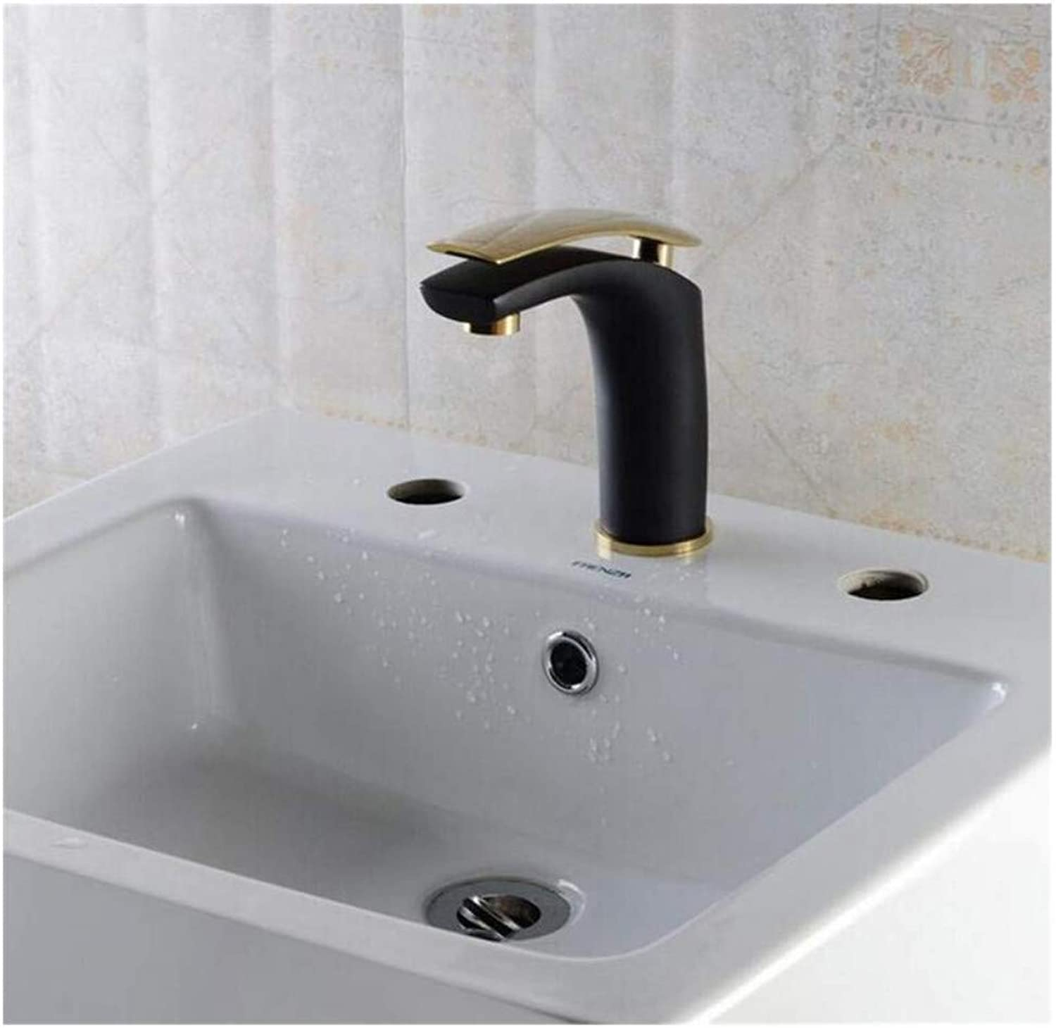 Modern Double Basin Sink Hot and Cold Water Faucet Handle Sink Taps Bathroom Basin Faucet Mixer Tap Single