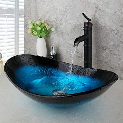chicstyleme Lavabo de barco Topmount – 21,45 x 13,65 pulgadas (largo x ancho) Barco Ingots baño baño barcos con grifos de bambú negro sobre el mostrador, lavabo de cristal templado Vanity Sink