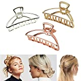 VinBee 3 PACK Metal Hair Claw Clips Hair Catch Barrette Jaw Clamp,Half Bun Hairpins for Thick Hair (Silver + Gold + Rose Gold)