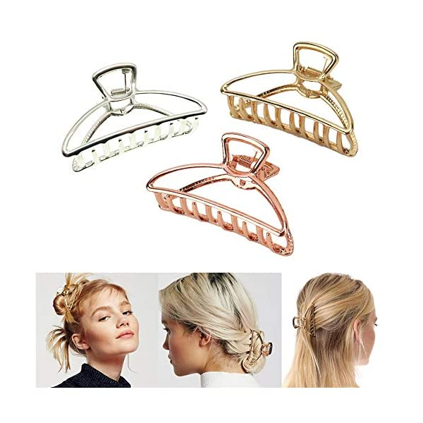 Beauty Shopping VinBee 3 PACK Large Metal Hair Claw Clips Hair Catch Barrette Jaw Clamp for Women