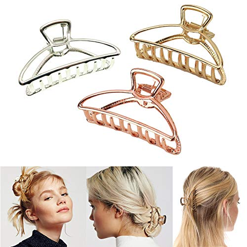 VinBee 3 PACK Large Metal Hair Claw Clips Hair Catch Barrette Jaw Clamp for Women Half Bun Hairpins for Thick Hair (Silver + Gold + Rose Gold)
