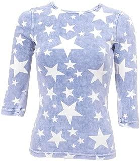 Hard Tail Three Quarter Sleeve T-Shirt T-181 M Light Denim Stars