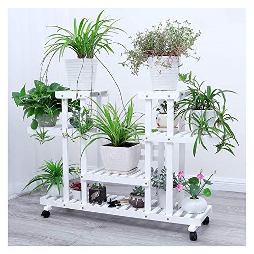 HAIBING Estantería for Macetas, Estantería for Plantas Soporte de Madera for Flores con 6 Niveles, Jardinera Tiered Plant Stand con Ruedas for Jardín Exterior Interior Balcón Terraza