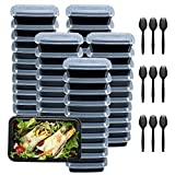 Plastic Meal Prep Containers 28oz 50 Pack, Food Storage Containers with Lids Airtight, Food Prep Containers for Freezer, Reusable Bento Lunch Box Togo Food Box, Disposable Takeout Deli Containers