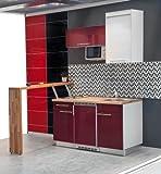Mebasa mcft220sr Instalación de Cocina, Mini Cocina Moderna, Single Cocina, Cocina, 174cm Brillante Rojo Incluye Microondas, frigorífico, Placa de cocción Duo