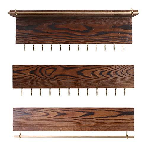Conjunto de estante de exhibición de joyería 3pcs Pantalla de pendiente montada en la pared, colgador de collar de madera natural, para la decoración del dormitorio del hogar