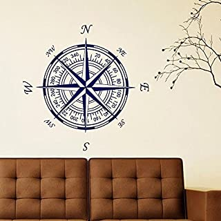 Compass Rose Vinyl Wall or Ceiling Decal Nautical Compass Rose Wall Decals Vinyl Wall Decal Sticker(30'' x30'',navy blue).