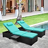 Outdoor PE Wicker Chaise Lounge - 2...