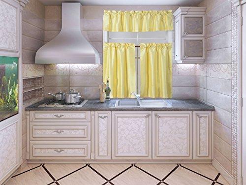 "GorgeousHomeLinen (K3) 3-Piece Solid Rod Pocket Small Window Blackout Kitchen Curtain Set 30""W X 36""L (Yellow)"