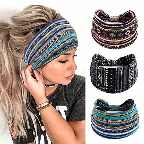 Zoestar Boho, diademas anchas, bandas para el pelo, con turbante anudado, elegante, elásticas y gruesas, para mujeres y niñas (paquete de 3)