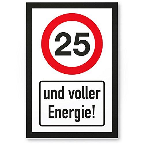 Bedankt! 25 jaar vol energie, plastic bord - Cadeau 25 verjaardag, cadeau-idee verjaardagscadeau vijfentige, verjaardagsdeco/feestdecoratie/feestaccessoires/verjaardagskaart