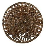NOVICA Teak Wood Relief Panel Peacock Wall Sculpture, Brown, Great Peacock'