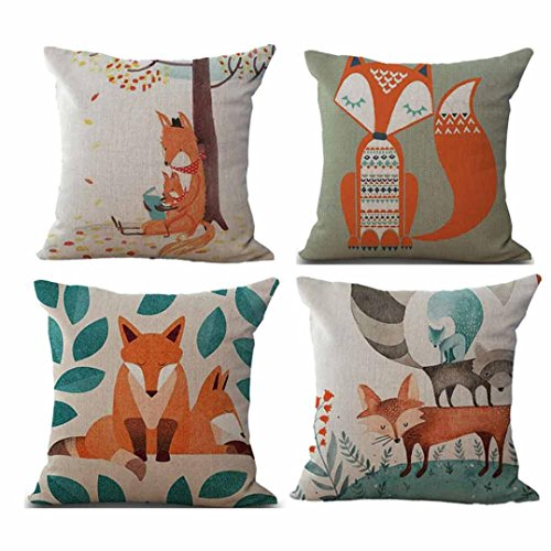 18' Pillow Case, Janly 4PC Geometry Throw Pillows Cover,Cute Fox Cushions Cover, Tropical Plant Flowers Home Decor Sofa Car Seat Decorative (B)