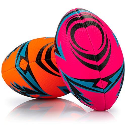 com-four® 2X Aufblasbarer Rugby - Weicher Mini-Rugbyball der Größe 1 - Softer Kinderball, für Schwimmbad, Strand, Garten und Zuhause