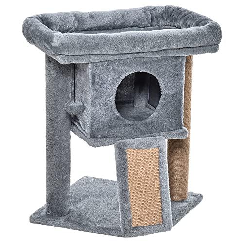 Pawhut Katzenbaum mit Jute-Kratzmatte Sitzstange hängendem Ball Kratzbrett Katzenmöbel mit Türloch Haustiermöbel MDF Plüsch Jute Hellgrau 40 x 40 x 57 cm