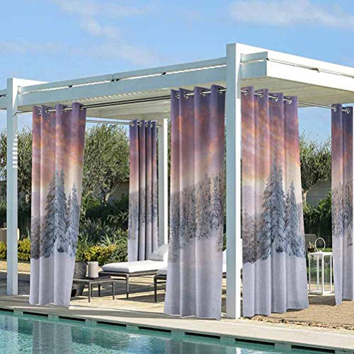 ParadiseDecor Winter Pergola Outdoor Drapes Thermal Insulated Room Darkening Curtains Sunrise in Winter Landscape Snowy Fields Frozen Pine Trees Northern Hemisphere Coral White Blue 112W x 95L Inch