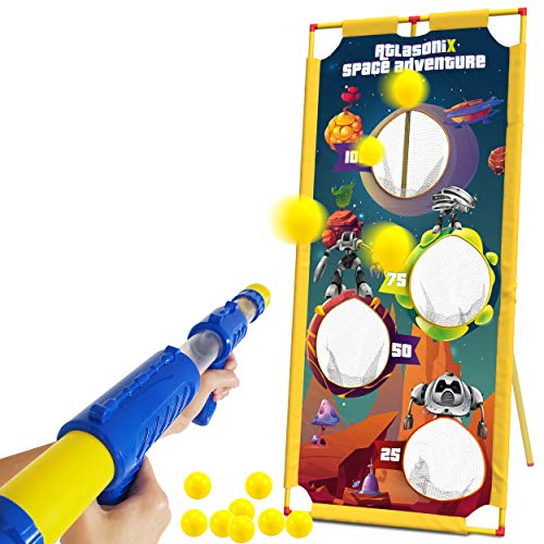 Foam Ball Gun and Target - Shooting Game for Kids w/ Space Blaster Toy Gun and Safe Foam Balls - Popper Air Toy Guns with Scoring Option for Competitions - Gift for Boys and Girls Age 4 5 6 7 8 9 10 +