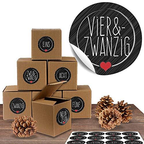 """Adventskalender Set aus 24 rustikalen Boxen und 24 weihnachtlichen Zahlenaufklebern """"Schick und Schwarz"""" zum Basteln und Befüllen"""