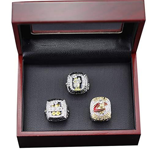 YANGLIXIA Baloncesto James Lakers Champions Ring 3 Pieza Establezca Fan Recolecta Recuerdos Recuerdos Super Bowl Réplica Anillos con Caja De Madera 11#