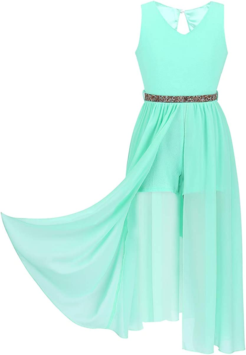 Doomiva Big Girls Sleeveless V-Neck High-Low Hem Dress Princess Shiny Rhinestone Belt Maxi Dress Party Prom Gown