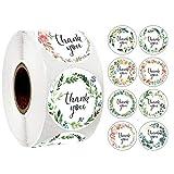 500 Stück Danke Aufkleber Blumen Thank You Label Abdichtung Aufkleber Runde Etiketten Selbstklebend...