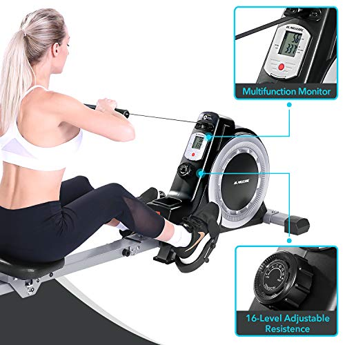 Maxkare Magnetic Rower Rowing Machine 16 Level Tension Resistance Exercise for Whole Body with LCD Monitor for Home Use