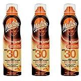 3Malibu aerosol continua aceite seco spray SPF 30. Pack contiene 3botellas–175ml cada
