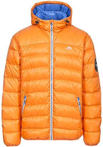 Trespass Whitman, Sunrise, S, Zusammenrollbare Ultraleichte Warme Daunenjacke mit Kapuze, 90% Daunen für Herren, Small, Orange