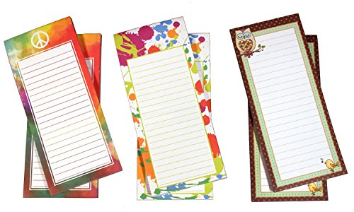 To-Do-List Notepad 6 Pack -Grocery List Magnet Memo Pad for Shopping, to Do List, Magnetic Memo Note Pads, 8 x 3.5 Inches, 60 Sheets Per Pad, Cool Hip Girl Designs
