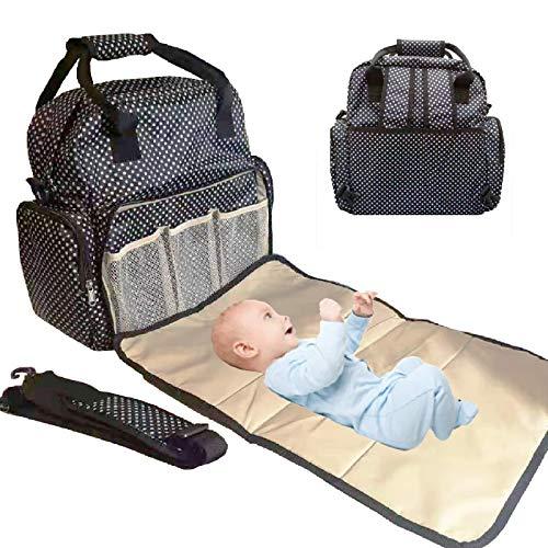 Mochila Bebé para Pañales y Biberones, Bolso maternidad multifuncional, Cambiador bebe portátil, Mochila impermeable mama Babylux, Bolso carrito bebé. (Negro)