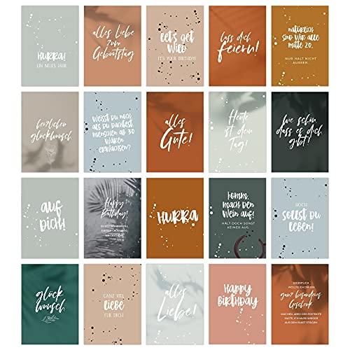 HEJ.CREATION Glückwunschkarten Geburtstagskarten Set ● 20 Premium Klappkarten inklusive Briefumschlag aus Kraftpapier ● Geburtstagskarte Grußkarte verschiedene Anlässe Geburtstag Happy Birthday
