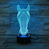 Zebra Head Holiday Toy Gadget Horse Face 3D LED Night Light Lámpara de mesa Mesita de noche Decoración Niños Regalo