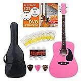 Classic Cantabile guitare acoustique folk set démarrage incl. kit d'accessoires à 5 pièces, rose