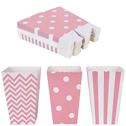 Cajas de palomitas de maíz 36 pcs Cartón Caramelo Contenedor para dulces para Cine Mesas de Postres Regalos de Boda Rosa