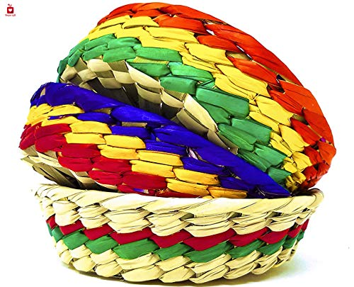 New | Alondra's Imports (TM) Elegantly Handwoven, Mexican Baskets for Party, Tortillas, Candy, Chips and More (Tortilleros para Fiesta, Tortillero Tule De Colores) - Unique Assorted Colors - 3 Pack