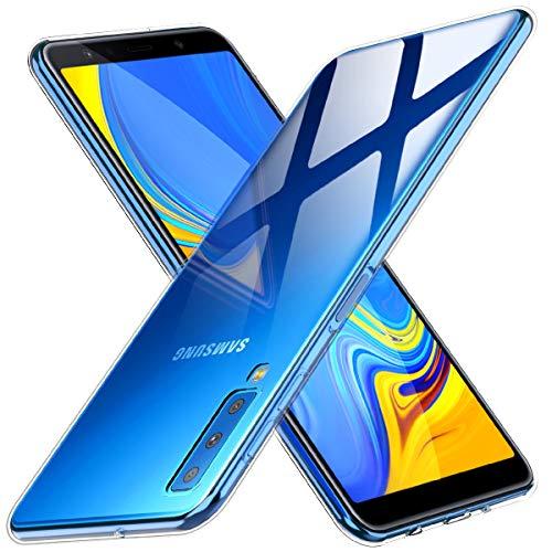 Peakally Funda Samsung Galaxy A7 2018, Transparente Silicona Funda para Samsung Galaxy A7 2018 Carcasa Flexible Claro Ligero TPU Fundas [Antideslizante] [Resistente a arañazos] -Transparente