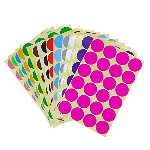 Tweal Runde Punkt-Aufkleber,32mm Kleine Runde Punkt-Aufkleber Klebrige Farbkodierung-Aufkleber,16 Verschiedene Sortierte Farben,16 Blätter