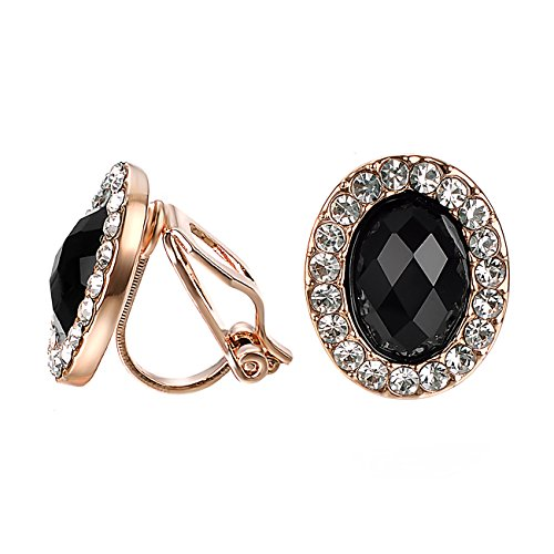 Yoursfs Black Clip on Earrings Oval Cut Cubic Zirconia Crystal for Womens Ladies 18ct Rose Gold Plated Vintage Prom Jewellery