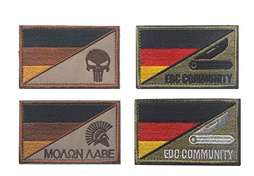 KOSSJAA Patches Klett Stickerei Aufnäher Klettbänder Deutschland Militär Aufkleber Abzeichen für Rucksacke 4 pcs (4 PCS)