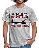 Pilote De Planeur Je Vole sans Moteur T-Shirt Homme, XL, Gris chiné