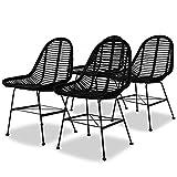vidaXL 4x Chaise de Salle à Manger Rotin Naturel Noir Chaise à Manger Cuisine