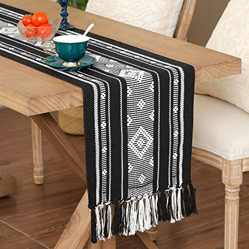 Bohemian Table Runner with Tassels Braided Cotton Geometric Pattern Boho Runners for Living product image