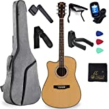 Left Handed Full Size Acoustic Guitar Spruce Cutaway for Beginners Students Kids with Advanced Kit, 41 Inches