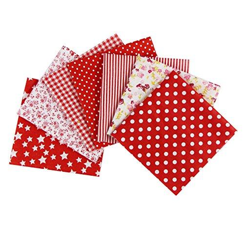 aufodara 7 Piezas Telas Patchwork 50 x 50cm Cuadrado Tela de Algodón Impresa Tela Algodon para Coser Manualidades Bricolaje Retales Costura (Rojo)