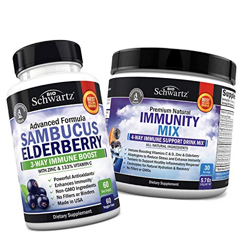 Sambucus Elderberry Capsules with Zinc & Vitamin C + Immunity Drink Mix with Vitamin C 1000 mg, Elderberry & Zinc - Berry Flavored Powder - Promotes Enhanced Immune Support and Hydration