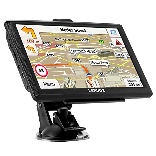 Leruox GPS Navigation for Car&Truck GPS 7 inch The Latest 2020 North American MAP Satellite Navigation System with Voice Turn Direction Guidance,Poi and Speed Camera Warning Free Lifetime Map Updates