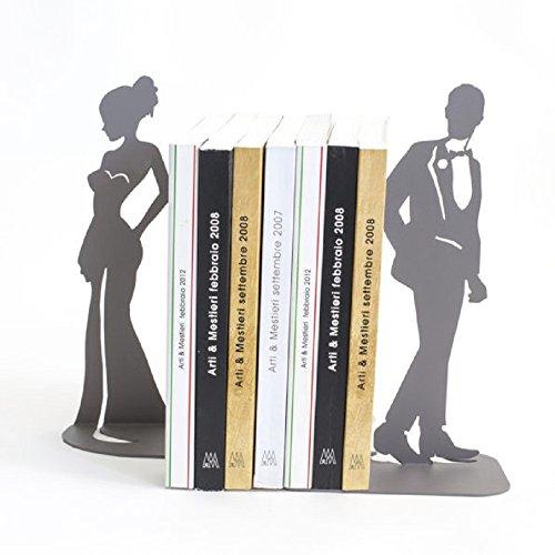 Arti e mestieri Set de 2 serre-livres motif silhouette, couleur ardoise, en métal, 17 x 10 x 28h cm