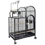 YCDJCS La Jaula de pájaro de Metal for Suelo de Suministros Casa Grande Periquito Cría Jaula Negro fácil de Limpiar for Mascotas Gallineros y jaulas (Color : Black, Size : 56 * 41.5 * 99 cm)